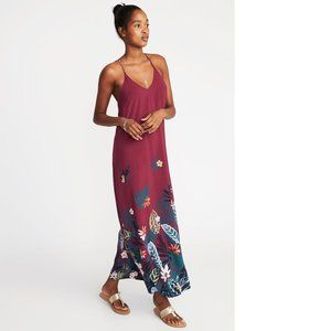 Old Navy tropical floral maxi shift dress pink S